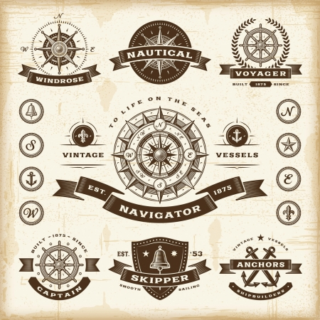 kompassrose: Vintage nautischen Etiketten gesetzt Illustration