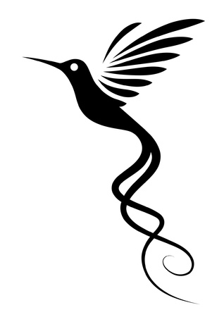 tatouage oiseau: Hummingbird Tattoo Illustration