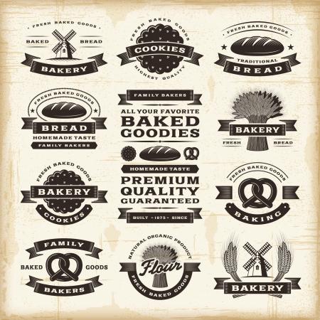 produits c�r�aliers: �tiquettes de boulangerie Vintage ensemble