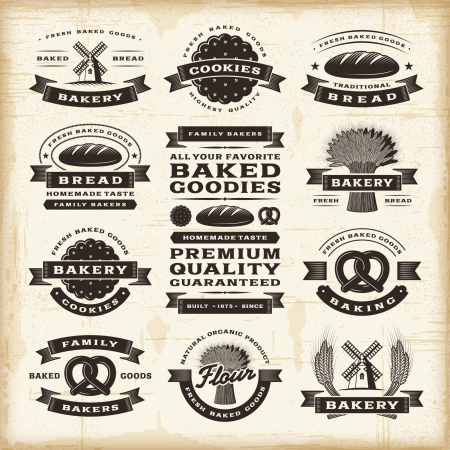 rye bread: Vintage bakery labels set