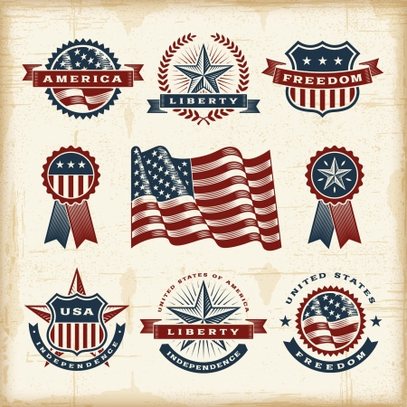 us grunge flag: Vintage American labels set Illustration