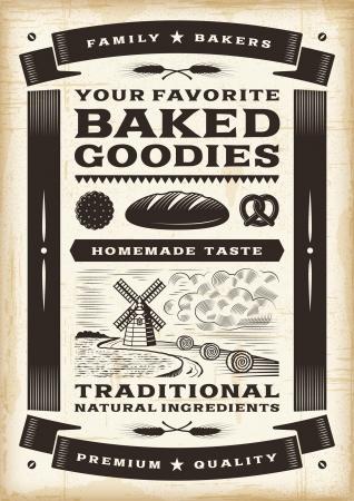 xilografia: Poster panadería Vintage