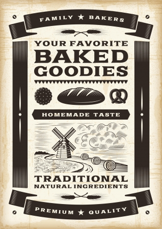 rye bread: Vintage bakery poster Illustration