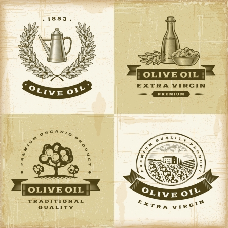 olive leaves: Vintage olive oil labels set Illustration