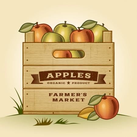 Retro crate of apples Illustration
