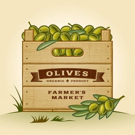 crates: Retro crate of olives