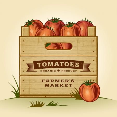 Rétro caisse de tomates Vecteurs