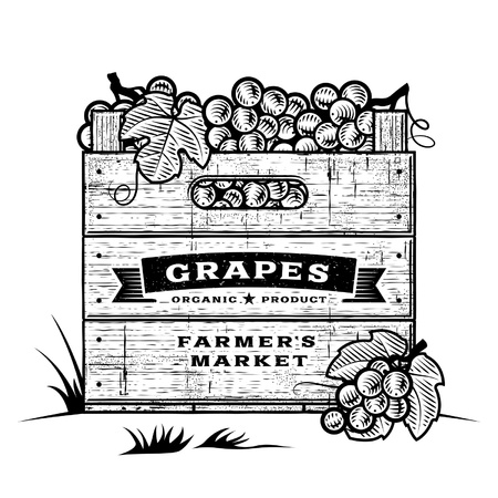 Retro crate of grapes black and white Vector