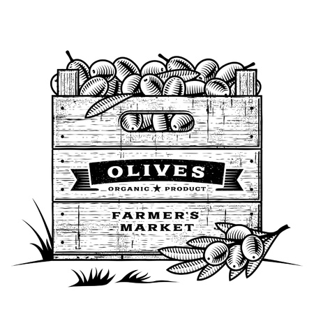 crates: Retro crate of olives black and white Illustration