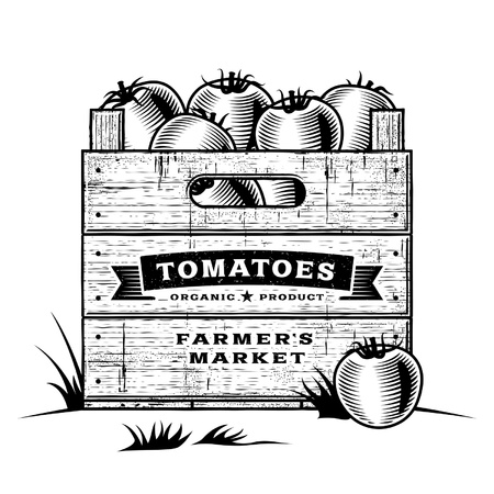 Retro crate of tomatoes black and white