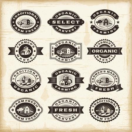organic farming: Vintage organic farming stamps set