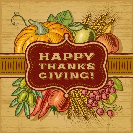 xilografia: Tarjeta Retro Feliz Acción de Gracias