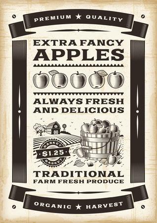 Cartel de la cosecha de manzana de la vendimia