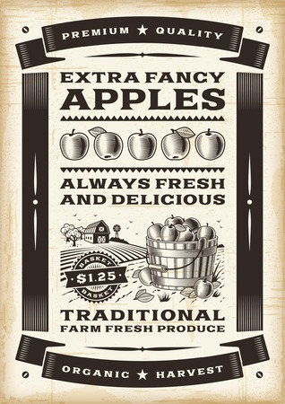 Vintage apple harvest poster