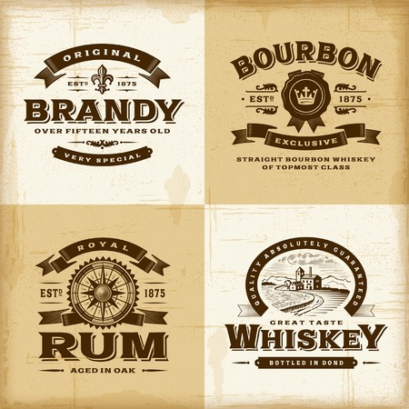 antique: Vintage alcohol labels set