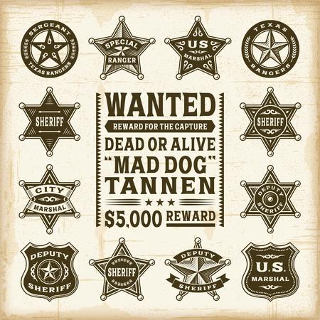 Vintage sheriff, marshal and ranger badges set Vector