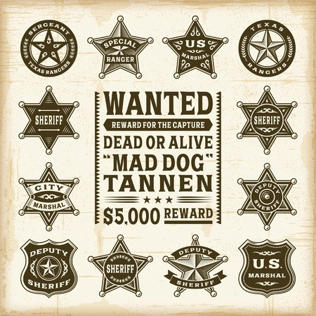 Vintage sheriff, marshal and ranger badges set