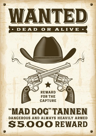 Vintage western wanted poster