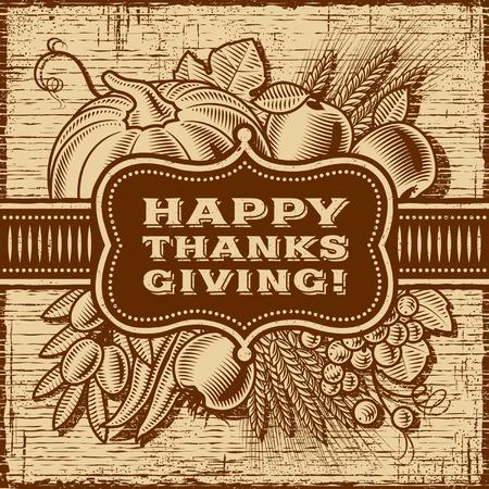 Happy Thanksgiving Retro Card Brown Illustration
