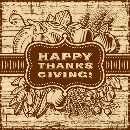 Happy Thanksgiving Retro Card Brown Ilustrace