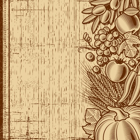 woodcut: Retro harvest background brown