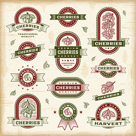 cereza: Etiquetas cereza serie Vintage Vectores