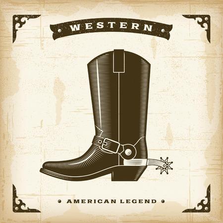 西部のヴィンテージのカウボーイ ブーツ