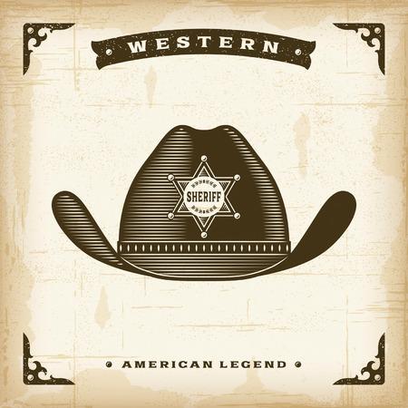 western united states: Vintage Western Sheriff Hat Illustration