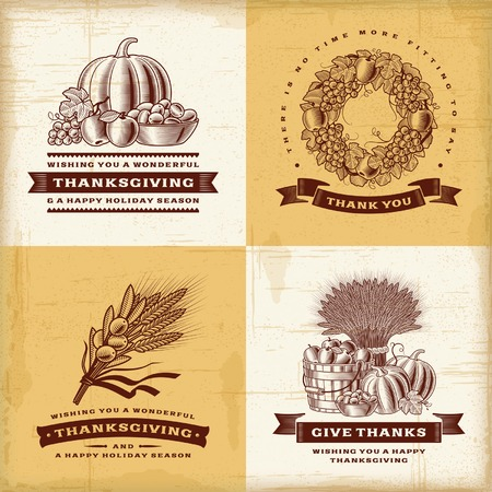 woodcut: Vintage Thanksgiving labels set