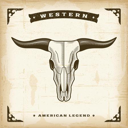 western united states: Vintage Western Bull Skull