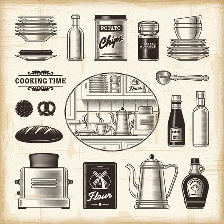 Retro keukenset Stock Illustratie