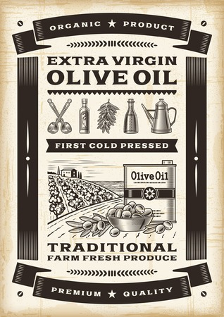 olive farm: Vintage olive oil poster Illustration