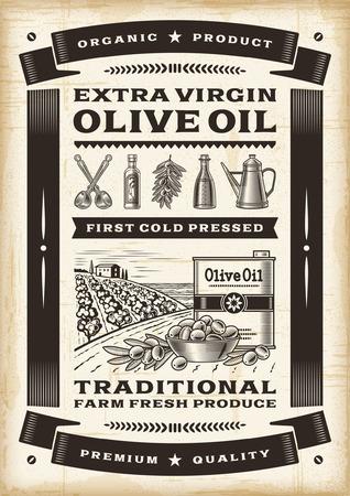 olive farm: Vintage olive oil poster Illustration