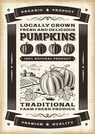 빈티지 호박 수확 포스터