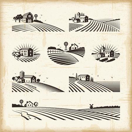dibujos lineales: Paisajes Retro