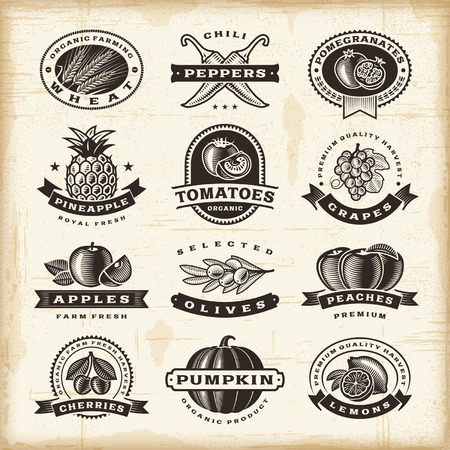 lemon: Vintage fruits and vegetables labels set