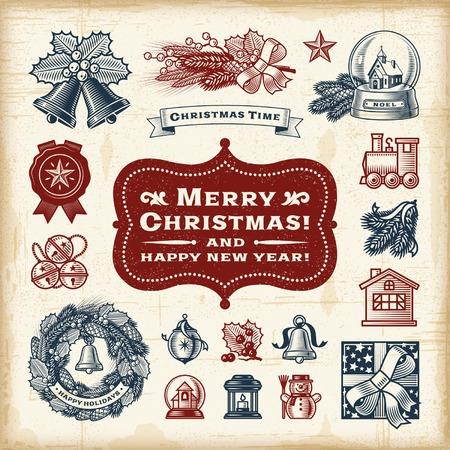 hojas antiguas: Conjunto de Navidad de la vendimia