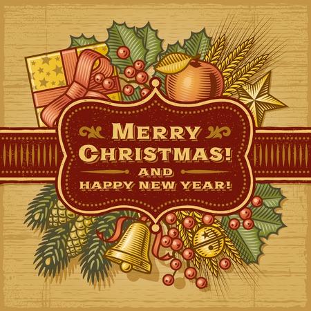 winter wheat: Merry Christmas Retro Card Illustration