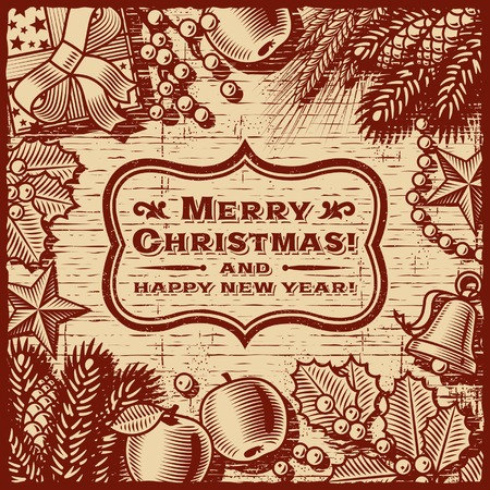 winter wheat: Christmas Retro Card Brown Illustration