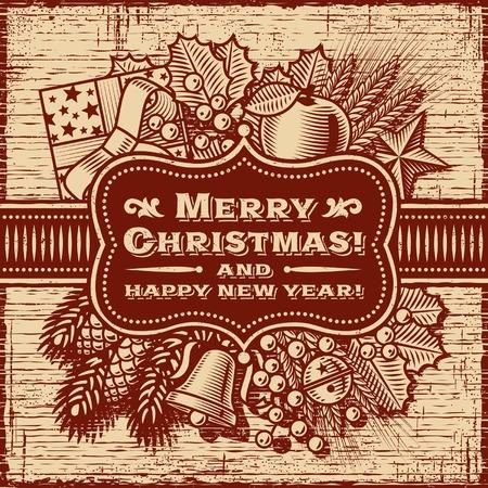 winter wheat: Merry Christmas Retro Card Brown Illustration
