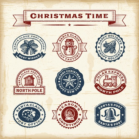 old time: Vintage Christmas stamps set