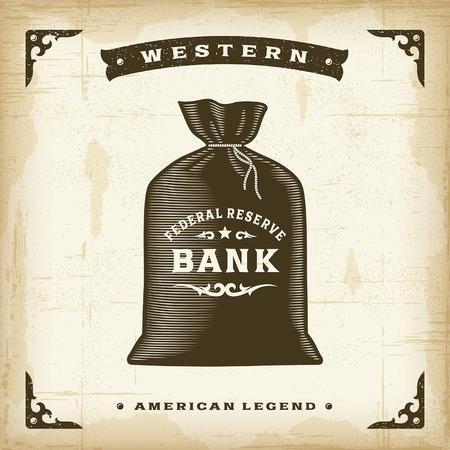 lineas decorativas: Vintage Bolsa de dinero Western Vectores