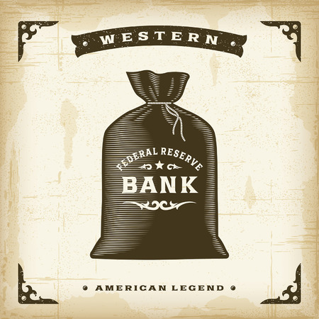bank money: Vintage Western Money Bag Illustration