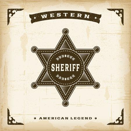 Insignia del sheriff occidental de la vendimia Foto de archivo - 36536532