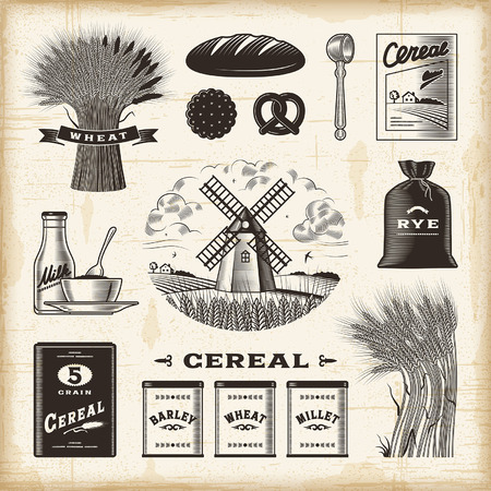 wheat illustration: Vintage cereal set