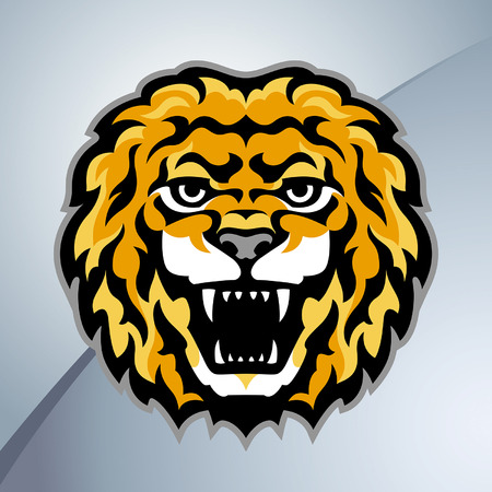 angry lion: Lion head mascot Illustration