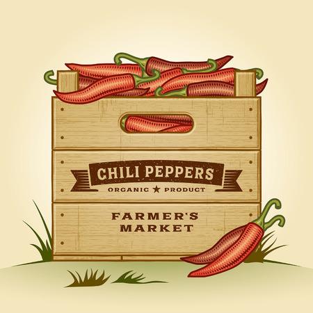 chili: Retro crate of chili peppers