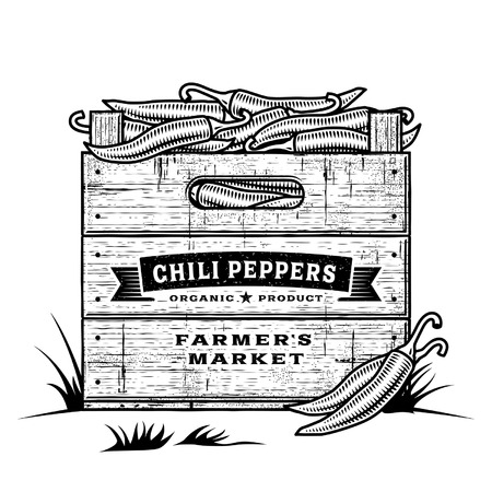 chili: Retro crate of chili peppers black and white Illustration