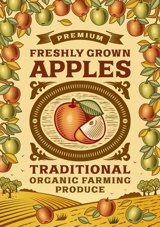 Retro Äpfel Poster Vektorgrafik