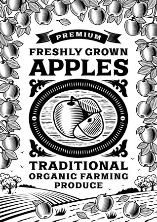 orchard fruit: Retro apples poster black and white